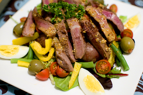 My attempt at Beef Nicoise Salad