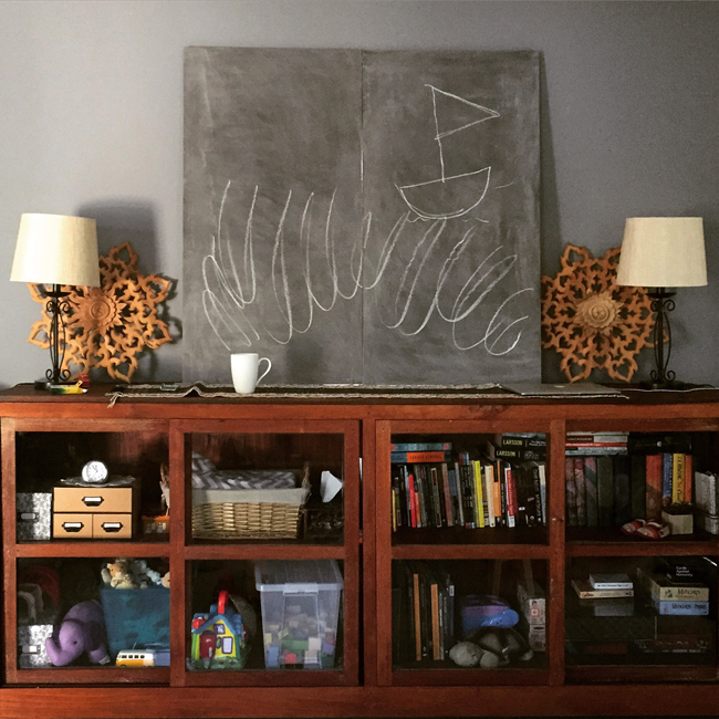 Imagine we've hung the wood mandalas and that the chalkboard is painted a darker shade...